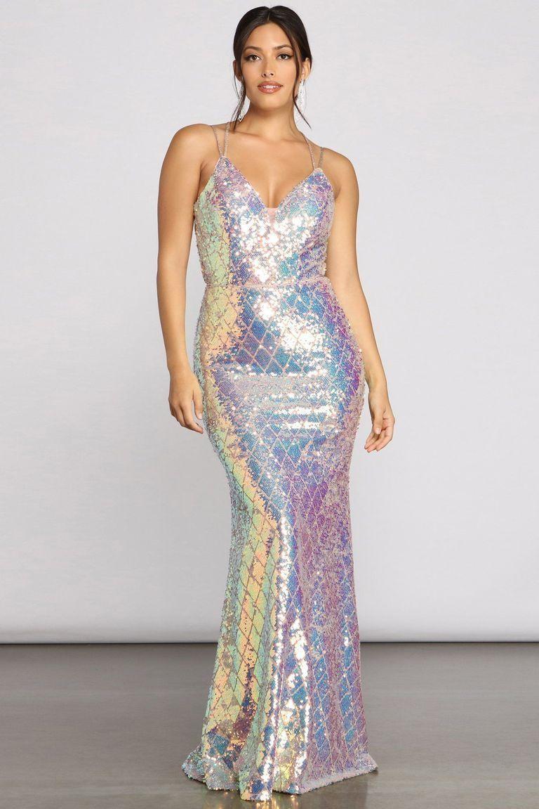 sequin long party dresses