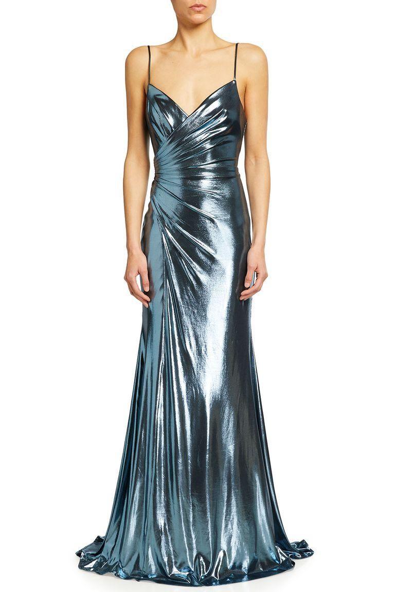 Ruched metallic long dress