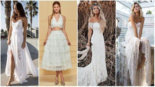 Lace beach wedding bride attire