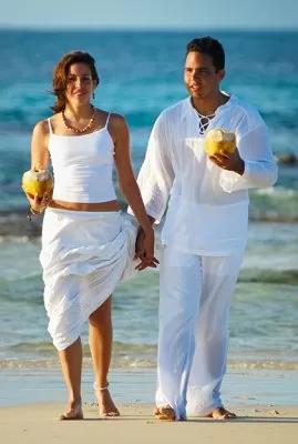 Light Linen Beach wedding attire for groom