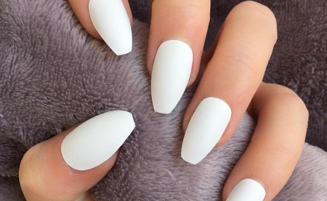white matte nail