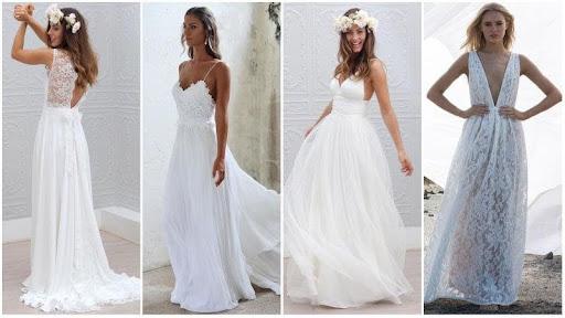 White beach wedding bride attire